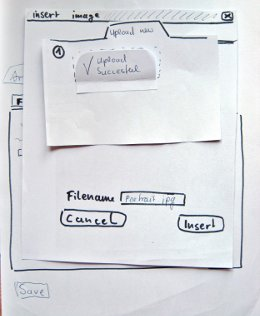 paper prototype for the upload dialog