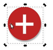 The rotation anchor (crosshairs-symbol) in Inkscape